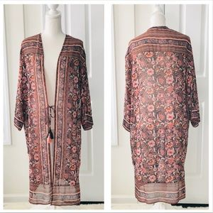 4/$25 Long Paisley Boho Tie Sheer Kimono Sml